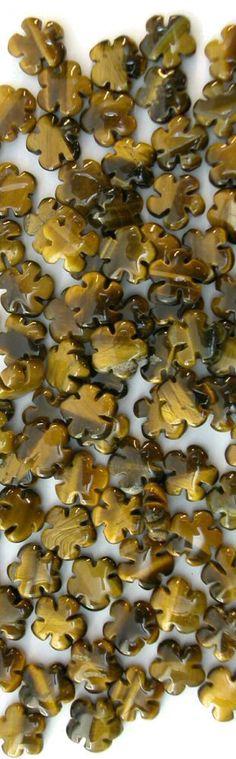 Tiger Eye Carved 8mm Flower Beads