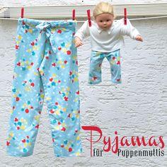 Schlafanzug-Hose für Kind und Puppe (inkl. Anleitung) aus altem Nachthemd / Pyjama trousers for children and dolls (incl. tutorial) made of old nightgown