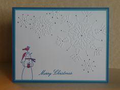 Stampin'Up It's Snow Time in Tempting Turquoise with embossed snow flakes and dazzling details. Stampin Up Christmas, Christmas Snowman, Christmas Cards, Snow Place, Snow Much Fun, Snowman Cards, Christmas Delivery, Blank Cards, Stampin Up Cards
