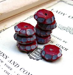 Faceted Cherry Red Polymer Clay Beads Handmade by JeraLunaDesigns