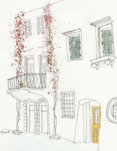 Ideas For House Drawing Sketches Easy Building Illustration, Art Et Illustration, Sketches Arquitectura, Drawing Sketches, Art Drawings, Drawing Style, Painting & Drawing, Watercolor Paintings, House Drawing