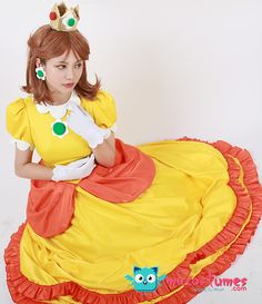 This Super Mario BROS Princess Daisy Cosplay Costume is a combination of Japanese sweet, Italy romantic and French grace. Mario Halloween Costumes, Halloween Stuff, Princess Daisy Costume, Mario Cosplay, Super Mario Run, Japanese Sweet, Super Smash Bros, Mario Bros, Lolita Fashion