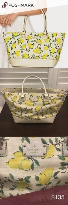 """Kate Spade Lemon Fabric Harmony Zip Tote Bag COLOR: PAINTERLY LEMON SIZE: 11""""H x 18""""W x 6""""D DROP LENGTH: 9""""  - Beautiful Kate Spade Zip Tote in excellent, barely used condition! - Shiny silver hardware, like new cream leather trim - Interior and exterior show very little signs of wear (carried a few times) - One tiny smudge on interior lining at bottom of bag (hard to tell unless you're looking for it) - Zip top closure, interior zipped pocket and two additional technology pockets - Bag…"""