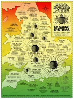 Cool map of Great Britain showing where music studios are in London, Ireland, other cities in the United Kingdom: UK Sound System Map. - cSw:) - http://www.pinterest.com/claxtonw/professional-recording-music-production/ - PROFESSIONAL RECORDING MUSIC PRODUCTION. Larger cities with more studios have bigger spot dots. BASSICAL VIBRATIONS- Reggae changed my Life. CREDIT: Paul Bradshaw. Fun geography to study if interested in record history for bands who have become famous, pinned via Sharon…
