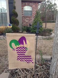 Burlap garden flag with Louisiana and Mardi Gras Jester Hat