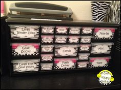 Zebra and hot pink teacher toolbox ~ Easy to make! Teacher Toolbox Planet Happy Smiles