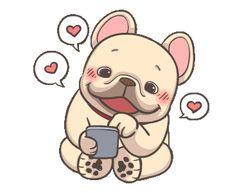 Cute Cartoon Characters, Cartoon Gifs, Animated Emojis, Animated Gif, Bulldog Gif, Funny Bulldog, Hug Gif, Cute Love Gif, Funny Emoji