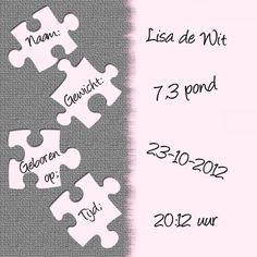 De puzzel is compleet meisje - Geboortekaartjes - Kaartje2go