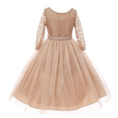 a7f2cd3eaf Big Girls Champagne Floral Lace Rhinestone Waist Tulle Junior Bridesmaid  Dress 8-14 - Sophia s