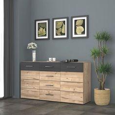 Sideboard in Eiche und Schwarz NB - Stauraum mit Stil für Ihr Zuhause Dresser, Cabinet, Storage, Furniture, Home Decor, Closet Storage, Oak Tree, Bedroom, Ad Home