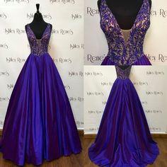A-line V-neckline Royal Blue Prom Dress,Graduation Dress,Beaded Royal Blue Occasion Dress,Evening Party Dress by DestinyDress, $225.00 USD