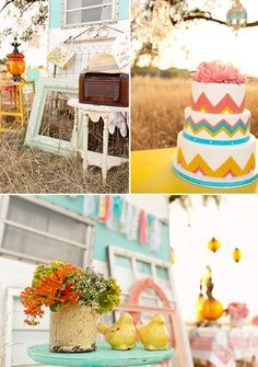 colorful vintage wedding decor rental from Fancy Fray | via junebugweddings.com designed and shot by mindy peterson of http://STUDIO6-23.com Worked with this company, they are the best! and how cool is this stuff?