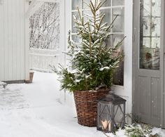 Lägg ut granris framför dörren, häng upp en julkrans och ställ ut en ljuslykta och några väl valda stilleben vid entrén så har du ordnat en fin...