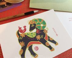2015 Sheep Goat Ram Chinese New Year Card by stillwaterartstudio