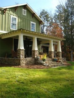 Craftsman porch with tapered columns...www.MuseResidential.com