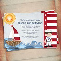 Nautical Sailboat Birthday Party Invitation by MVDesignInk on Etsy, $13.50