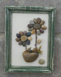 "Items similar to Pebble Art Two Flowers Hand crafted from pebble and rock in rustic ""open"" frame on Etsy Stone Crafts, Rock Crafts, Arts And Crafts, Pebble Pictures, Rock And Pebbles, Rock Design, Sea Glass Art, Shell Art, Beach Crafts"