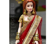 Heavily embellished magenta lehenga for a regular body type barbie doll. Barbie Doll Accessories, Doll Clothes Barbie, Barbie Dress, Barbie Bridal, Wedding Doll, Indian Dolls, Bride Dolls, Indian Designer Outfits, Little Doll