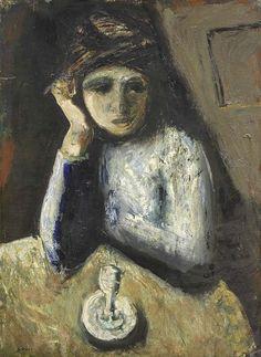 Donna al caffè / Woman at cafe, Mario Sironi. (1885 - 1961)