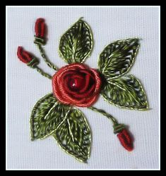demensional  Hand Embroidery Designs | ... original Brazilian dimensional embroidery flowers -- a bullion rose
