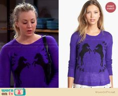 Penny's purple horse sweater on The Big Bang Theory. Outfit Details: http://wornontv.net/27742 #TheBigBangTheory #fashion
