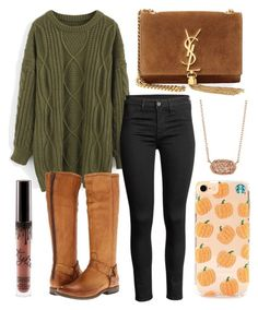 """Fall"" by jadenriley21 on Polyvore featuring Chicwish, Yves Saint Laurent, Frye and Kendra Scott"