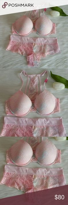PINK VS Lightly Lined Bra 34C& Panty M. Nwt Beautiful Set.  Brand new with tag never worn.  Smoke and pet free.  Fast shipping + extra gift.  Available  I don't trade love.  Feel free to bundle with extra discount and extra gift.  Happy Poshing :) Lowest 40 PINK Victoria's Secret Intimates & Sleepwear Bras