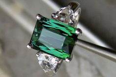 Engagement Ring -  3 Carat Green Tourmaline Engagement Ring With White Topaz In 14K White Gold