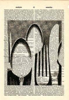 Silverware Vintage image dictionary book page collage art print