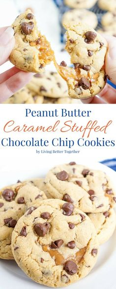 These Peanut Butter Caramel Stuffed Chocolate Chip Cookies are a bit of a mouthful, but a super delicious one! Soft peanut butter pudding cookies stuffed with soft caramels and loaded with chocolate chips! The first batch is ready in less than 30 minutes!