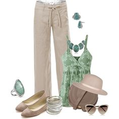 Romantic sets for Jane. Beige & teal. Linen pants., created by harmoniq on Polyvore