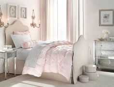 Fashionable White Pink Little Girls Bedroom Design With Wall Holder Candle And Letters On The Wall