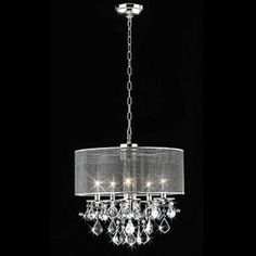 $172,00  Lowe's    Warehouse of Tiffany 18-in W Chrome Crystal Accent Pendant Light with Crystal Shade