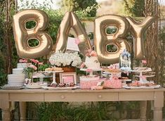 Giant BABY Balloons – 40 Inch Gold Mylar Balloons in Letters B-A-B-Y – Metallic Gold – Baby Shower Balloons, Shower Decorations by ChrissyBPartyShop… - Parenting Fotos Baby Shower, Deco Baby Shower, Fiesta Baby Shower, Shower Bebe, Gold Baby Showers, Shower Party, Baby Shower Games, Baby Shower Parties, Baby Boy Shower
