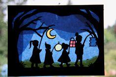 Laternenumzug / Waldorf / transparent / Fensterbild / St Martin / Fensterbilder / Fensterbilder Jahreszeitentisch Window Mural, Crafts For Kids, Diy Crafts, Nature Table, Lanterns, Seasons, Halloween, Children, Creative