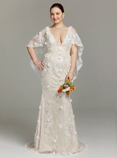 Sheath / Column Plunging Neckline Sweep / Brush Train Lace Wedding Dress with Appliques Flower(s) Sequins by LAN TING BRIDE® - USD $199.99 ! HOT Product! A hot product at an incredible low price is now on sale! Come check it out along with other items like this. Get great discounts, earn Rewards and much more each time you shop with us!