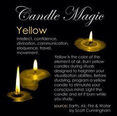 Crone Cronicles: Candle Magick ~Colors~ Crone Cronicles: Candle Magick ~Colors~ Powerful 'Get Back Ex' Spell. Love Spell Casting done for you. Ex Back Spell. Magick Spells, Candle Spells, Candle Magic, Wiccan Witch, Yellow Candles, Black Candles, Witch Spell, Color Meanings, Color Magic