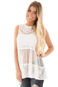 Ivory Lace Tunic Tank with Sheer Detail
