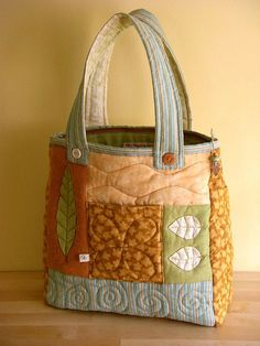 Summer Leaf bag - front by PatchworkPottery, via Flickr