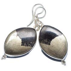 "Pyrite In Magnetite (healer's Gold) 925 Sterling Silver Earrings 1 5/8"" EARR309639"