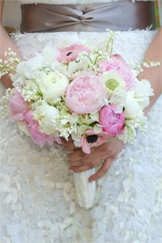 Gorgeous pink and ivory peony bouquet. I just love pink and white peonies---almost as much as roses! Funny how I think of our English country wedding years ago and still wish I had had a bouquet like this. Peony Bouquet Wedding, Bride Bouquets, Bridal Flowers, Floral Wedding, Pink Flowers, Pink Peonies, Anemone Bouquet, Wedding Flower Inspiration, Spring Bouquet