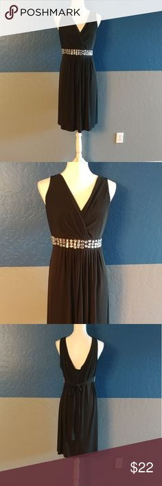 """R & M Richards Party Dress Beautiful Black Dress w/Clear Beading Sleeveless 42"""" Bust 38"""" Length  Polyester Spandex Bundle and Save R & M Richards Dresses"""