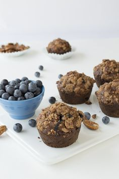 These healthy, low fat muffins are bursting with blueberries and I love the nut crunch topping!