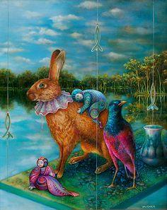 River Crossing - Animal Art oil paintings by Wendy Vaughan