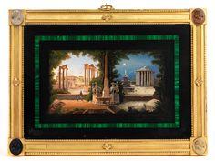 Plattenmaß: 20,5 x 29 cm. Rom, um 1810. Das Mikromosaik ist eingelassen in eine schwarze Natursteinplatte, in die wiederum ein schmaler Malachitrahmen...