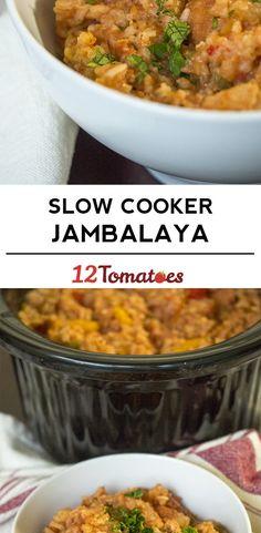Slow Cooker Jambalaya - cajun food with sausage, tomatoes, rice, tomatoes and Crockpot Dishes, Crock Pot Slow Cooker, Crock Pot Cooking, Slow Cooker Recipes, Crockpot Recipes, Cooking Recipes, Crock Pots, Rice Recipes, Cooking Ideas