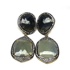 SECRET NIGHT 925 SOLID STERLING SILVER NATURAL BLUE AND GREY SAPPHIRE EARRING