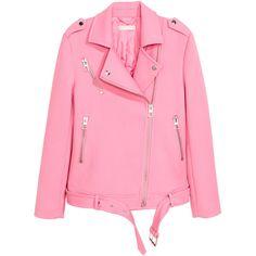 Biker Jacket $79.99 (260 PEN) ❤ liked on Polyvore featuring outerwear, jackets, moto jacket, pink jersey, motorcycle jacket, moto zip jacket and biker jacket
