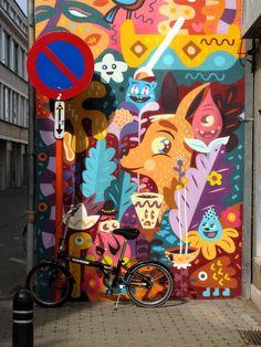 Gand, Flandres - street art Ghent bicycle safari august 2015 - Bué the warrior