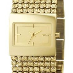 DKNY NY4662 Wide Band Gold Watch with Crystals #DKNY